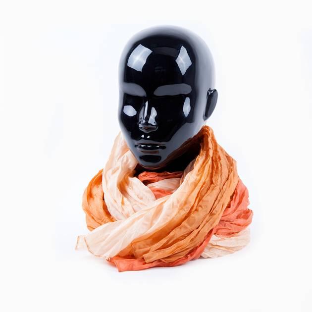 Лёгкий шёлковый шарф оранжево-персикового цвета