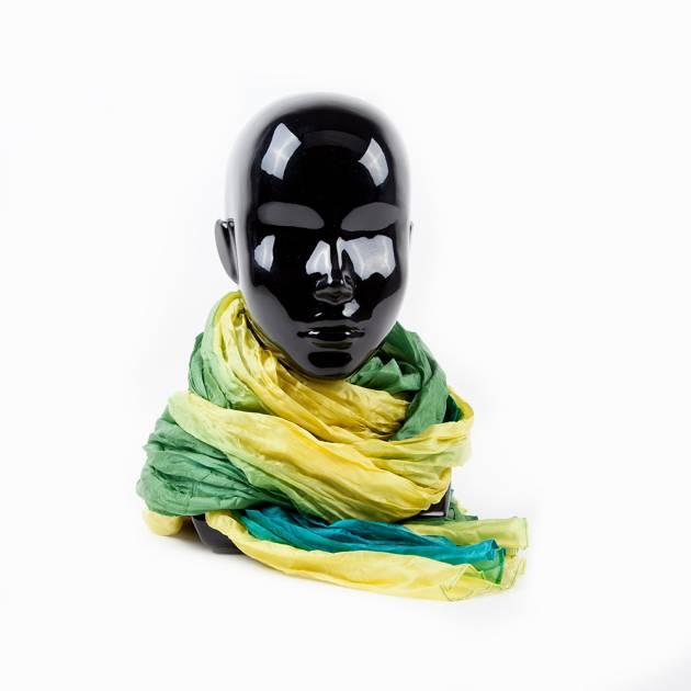Шарф из воздушного шёлка жёлто-зелёной расцветки