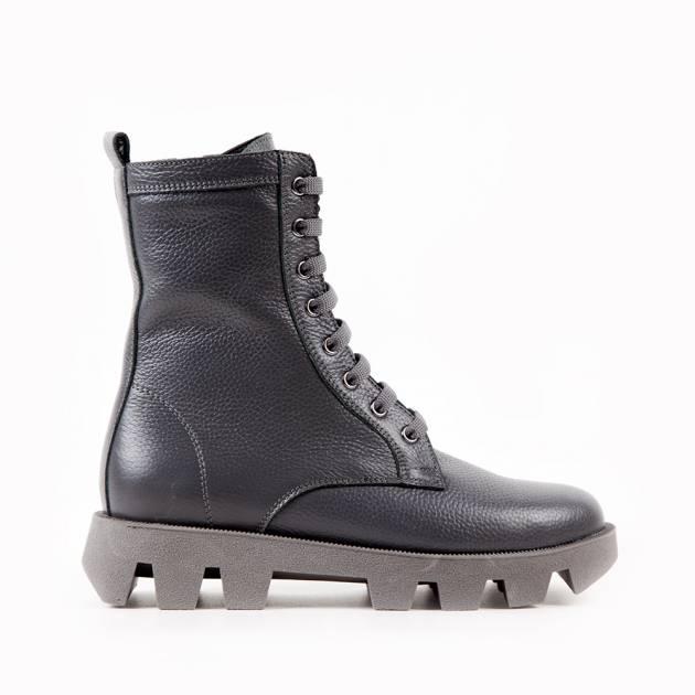 Ботинки из крупнозернистой кожи цвета мокрый асфальт