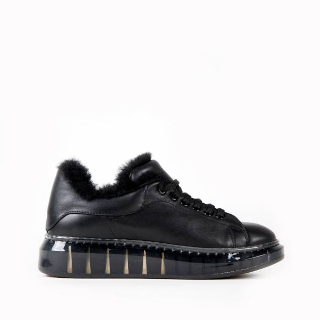 Ботинки из кожи чёрного цвета на меху