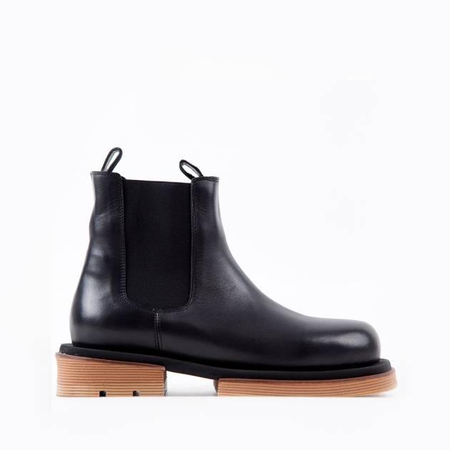 Ботинки из кожи чёрного цвета с боковыми резинками