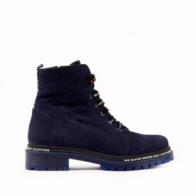 Ботинки из замши тёмно-синего цвета на шнуровке