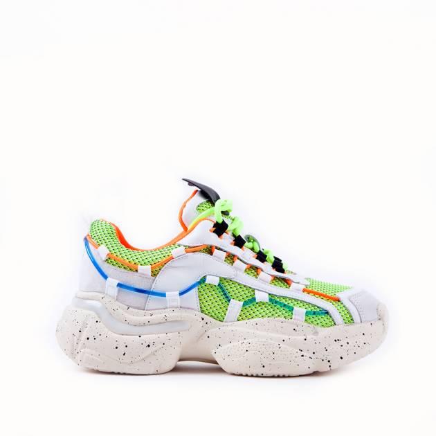 Креативные кроссовки из кожи и текстиля мультиколор
