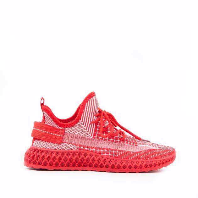 Легкие кроссовки красного цвета из текстиля