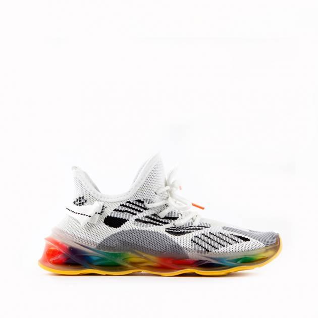 Мягкие кроссовки из текстиля мультиколор с преобладанием белого