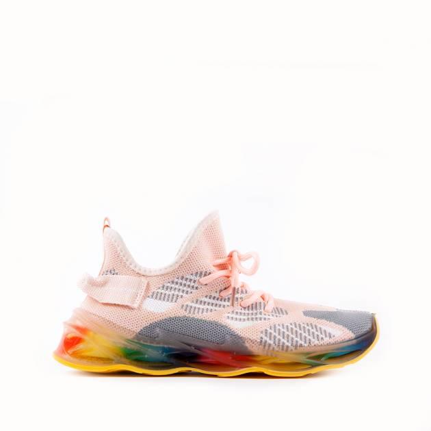 Мягкие кроссовки из текстиля мультиколор с преобладанием розового