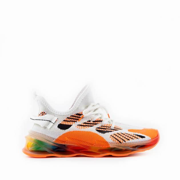 Мягкие кроссовки из текстиля бело-оранжевого цвета