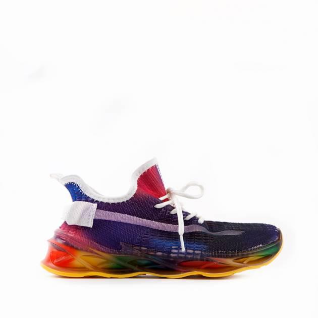Мягкие кроссовки из текстиля мультиколор с преобладанием фиолетового