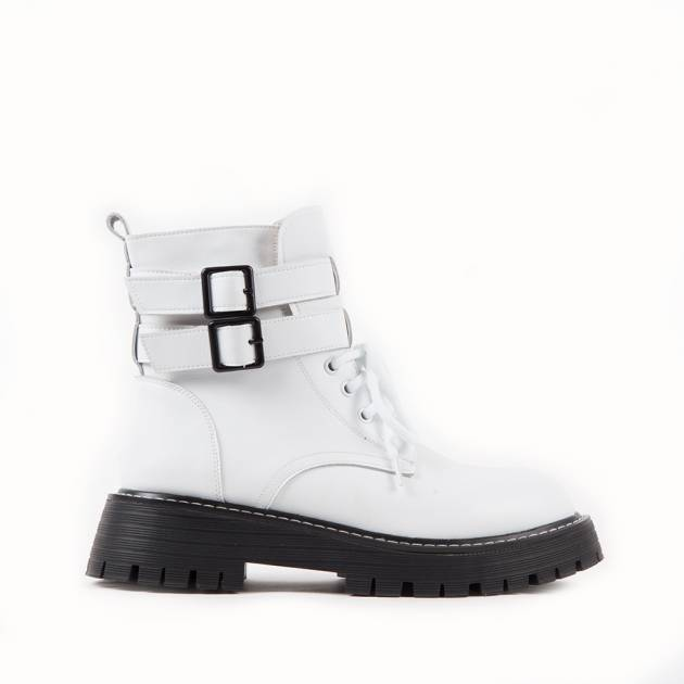 Ботинки из кожи белого цвета с протектором на шнуровке