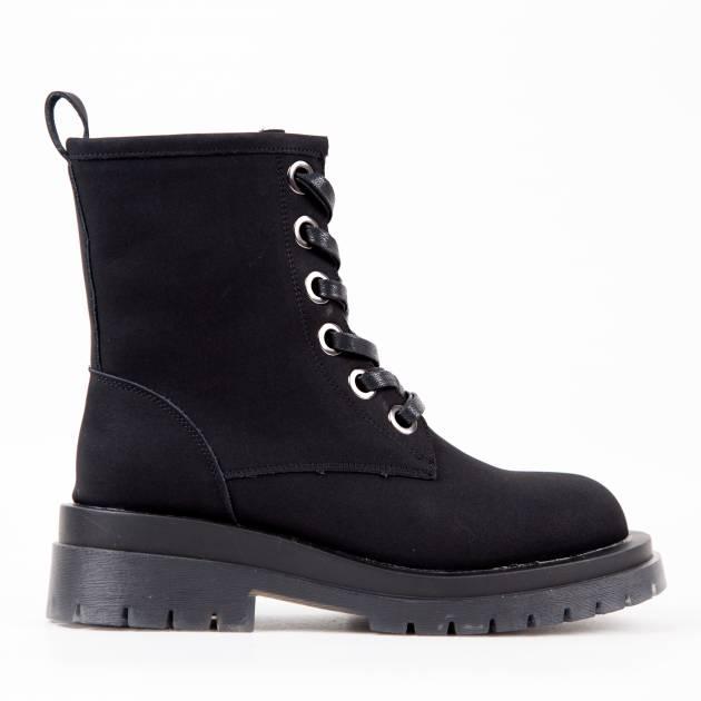 Ботинки из нубука чёрного цвета на шнуровке