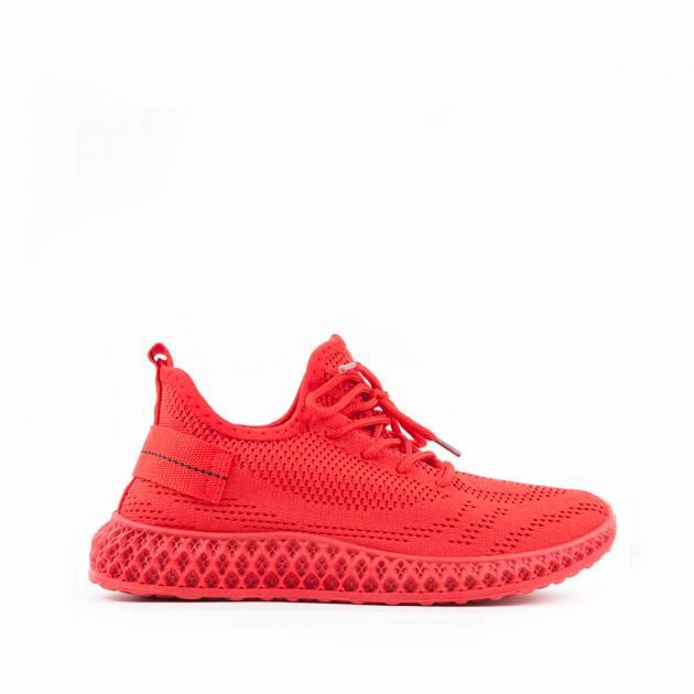 Лёгкие кроссовки из текстиля алого цвета