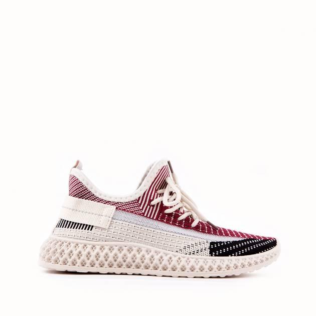Лёгкие кроссовки из текстиля бежевого цвета с принтом