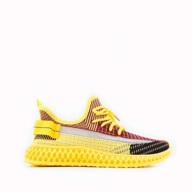 Лёгкие кроссовки из текстиля мультиколор с преобладанием жёлтого