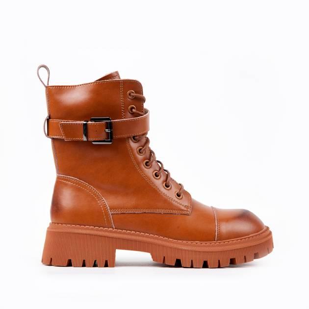 Ботинки из кожи терракотового цвета на шнуровке