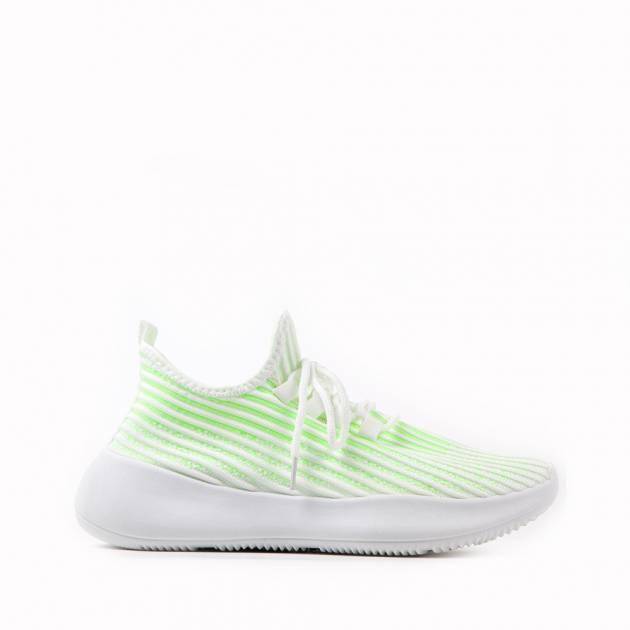 Мягкие кроссовки из текстиля салатно-белых тонов