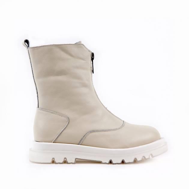 Демисезонные ботинки из кожи кремового цвета с функциональной молнией