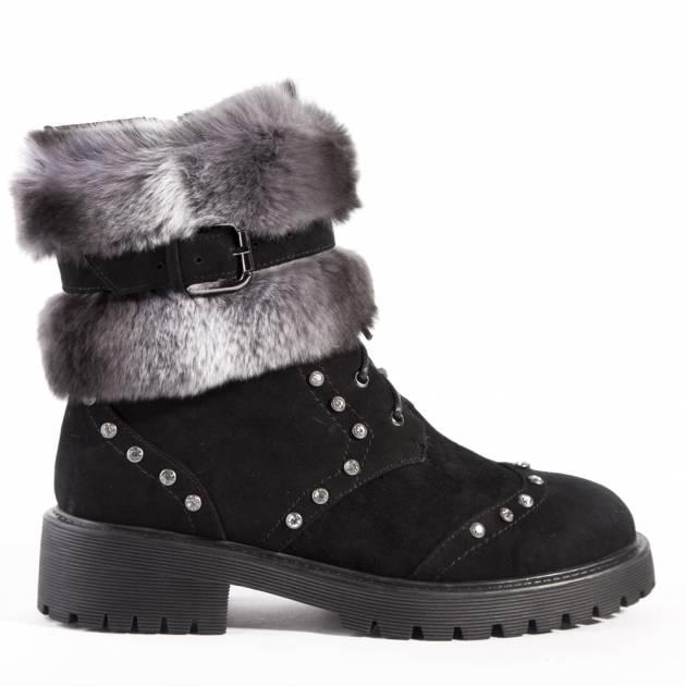 Высокие ботинки на шнуровке из замши черного цвета с мехом