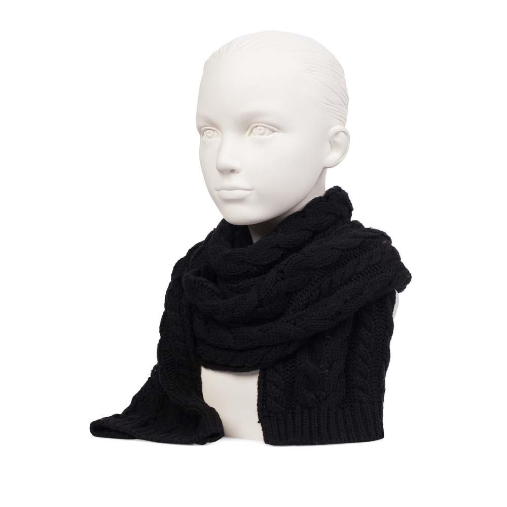 Шерстяной шарф черного цвета с объемным узором