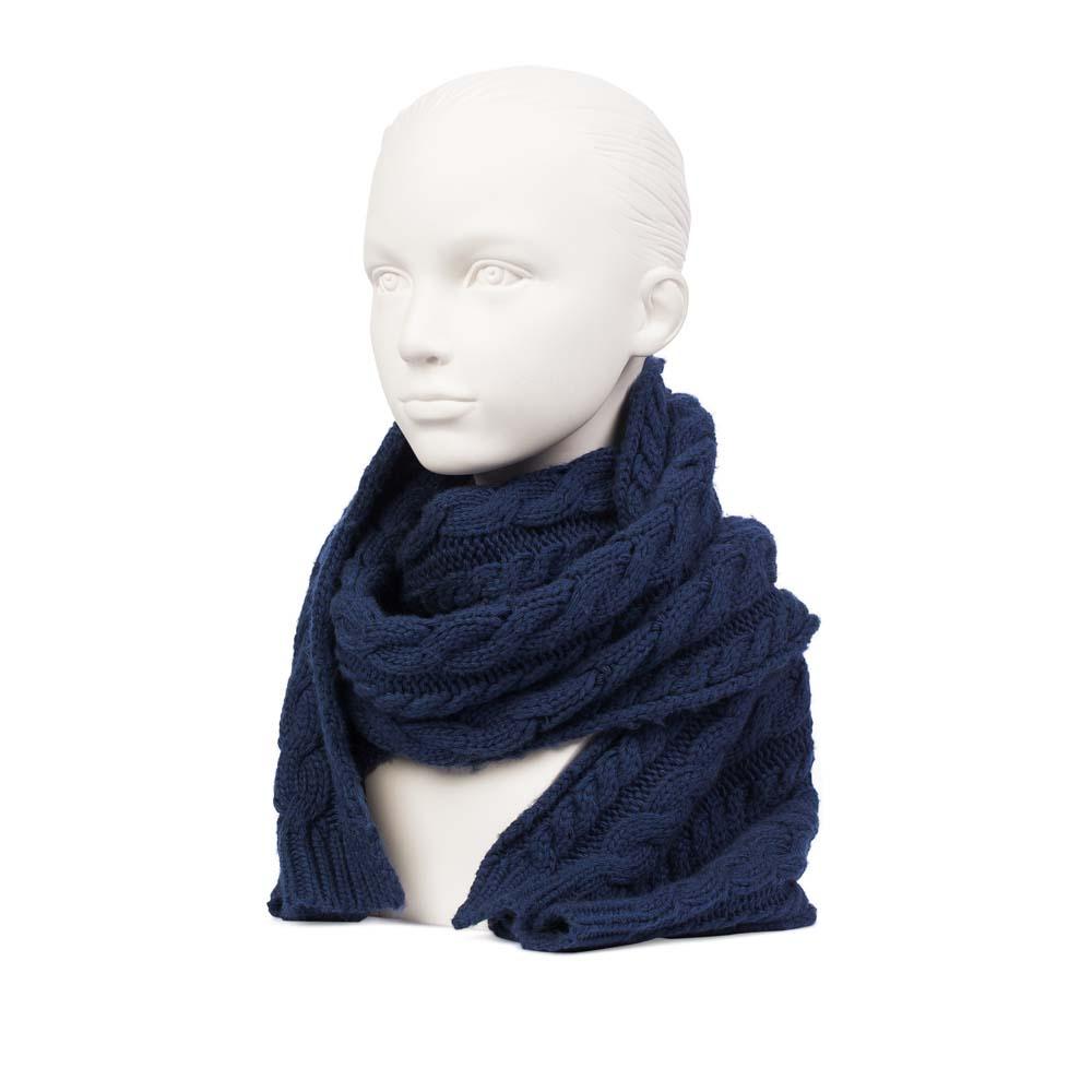 Шерстяной шарф цвета темного моря с объемным узором