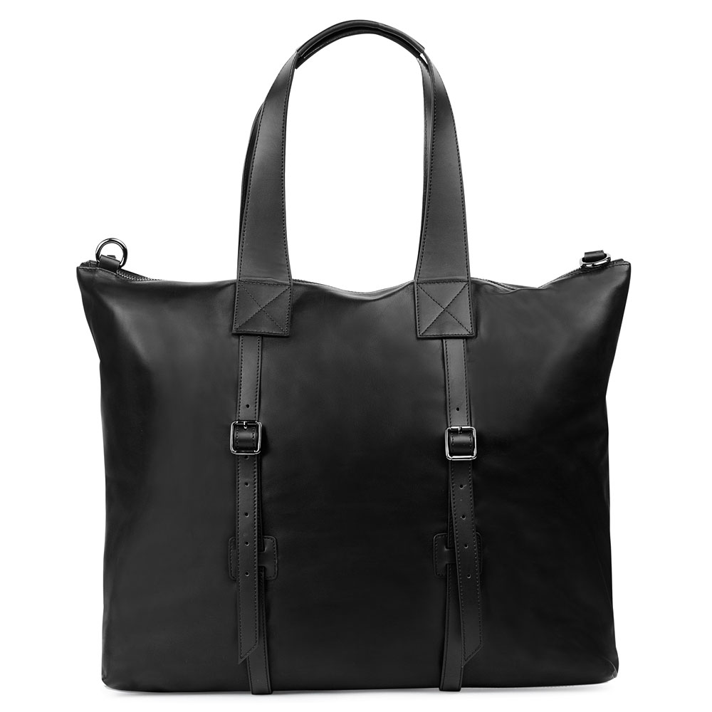 Кожаная сумка черного цвета со съемным ремнем