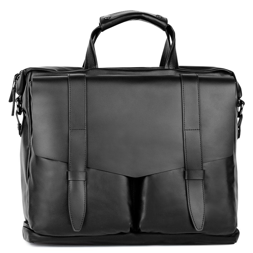 Кожаный портфель черного цвета со съемным ремнем