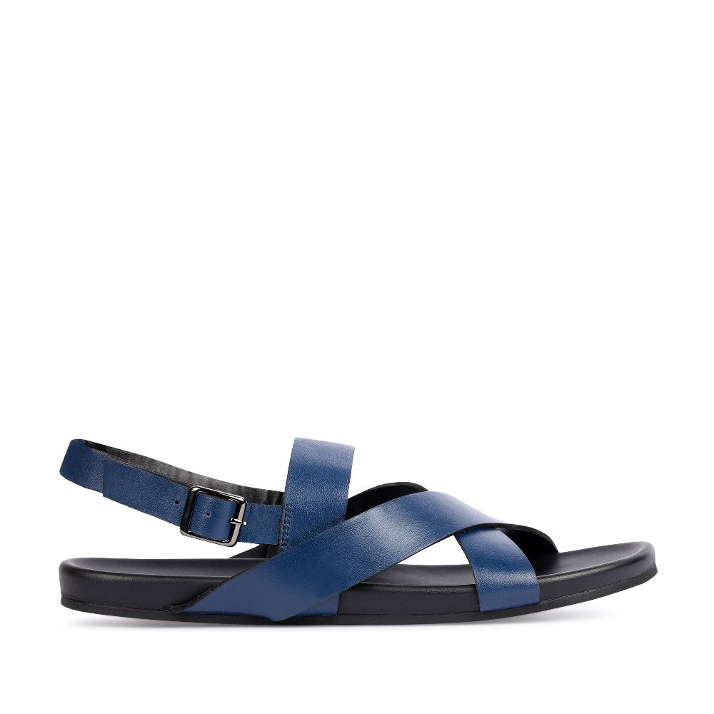 Сандалии мужские из кожи темно-синего цвета