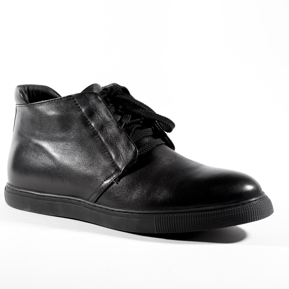 Мужские ботинки ROSCOTE Ботинки черного цвета из кожи с мехом