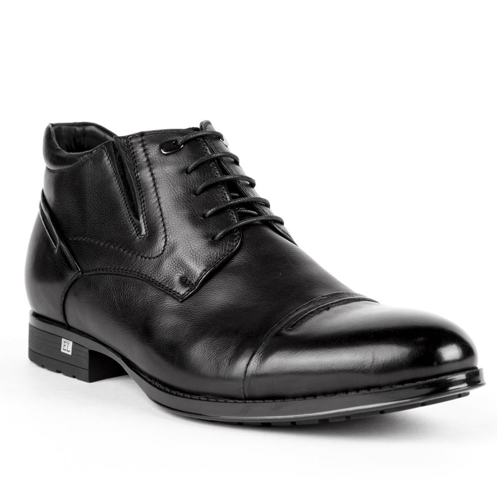 Мужские ботинки CorsoComo (Корсо Комо) Ботинки из кожи черного цвета на шнуровке и молнии