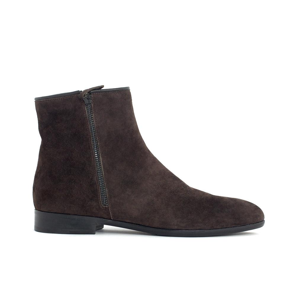 Замшевые ботинки кофейного цвета с мехом на молнии