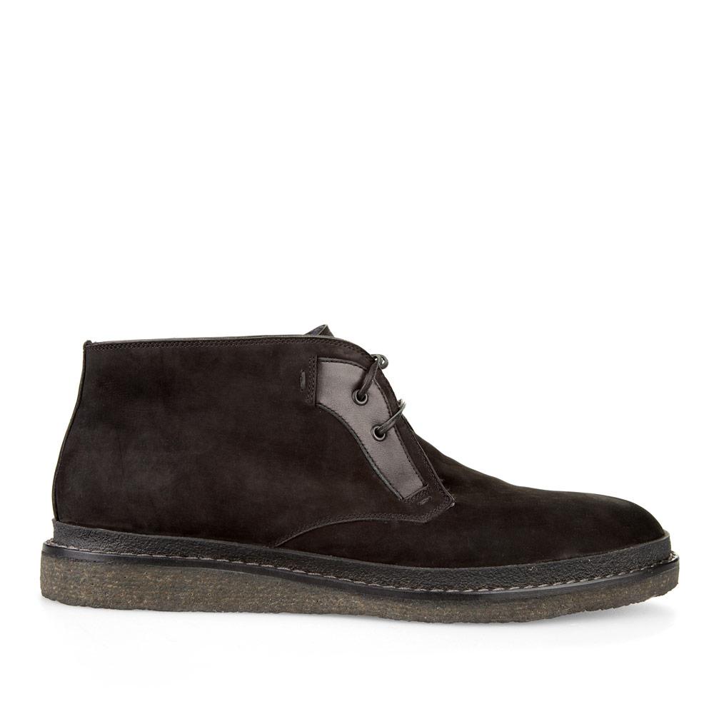 Ботинки-чукка из нубука черного цвета с мехом на широкой подошве