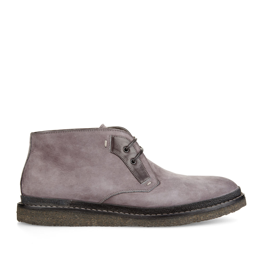 Ботинки-чукка из нубука каменно-серого цвета на широкой подошве