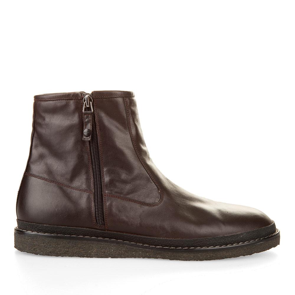 Ботинки из кожи каштанового цвета с молнией на широкой подошве