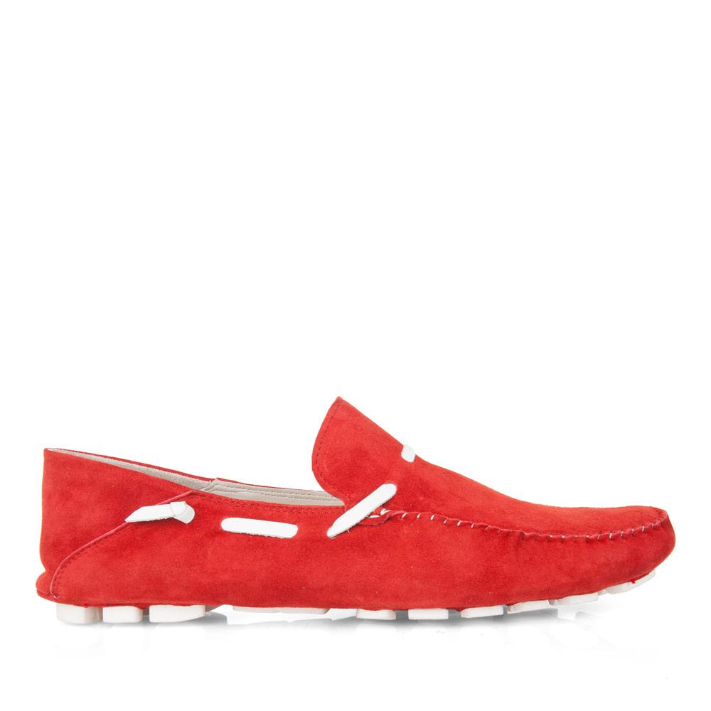 CORSOCOMO Мокасины из замши красного цвета с декоративным кожаным шнурком 88-109-12113-7