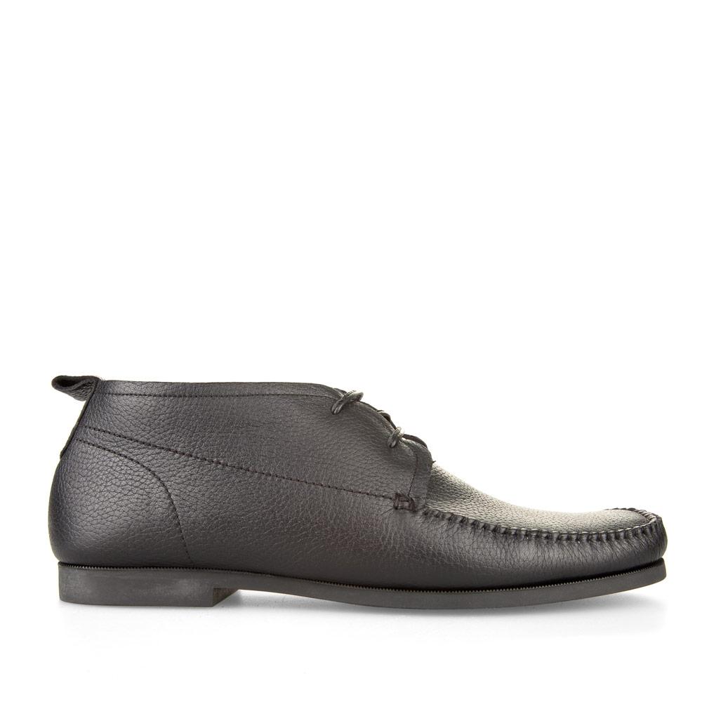 Кожаные ботинки с мехом черного цвета на шнуровке