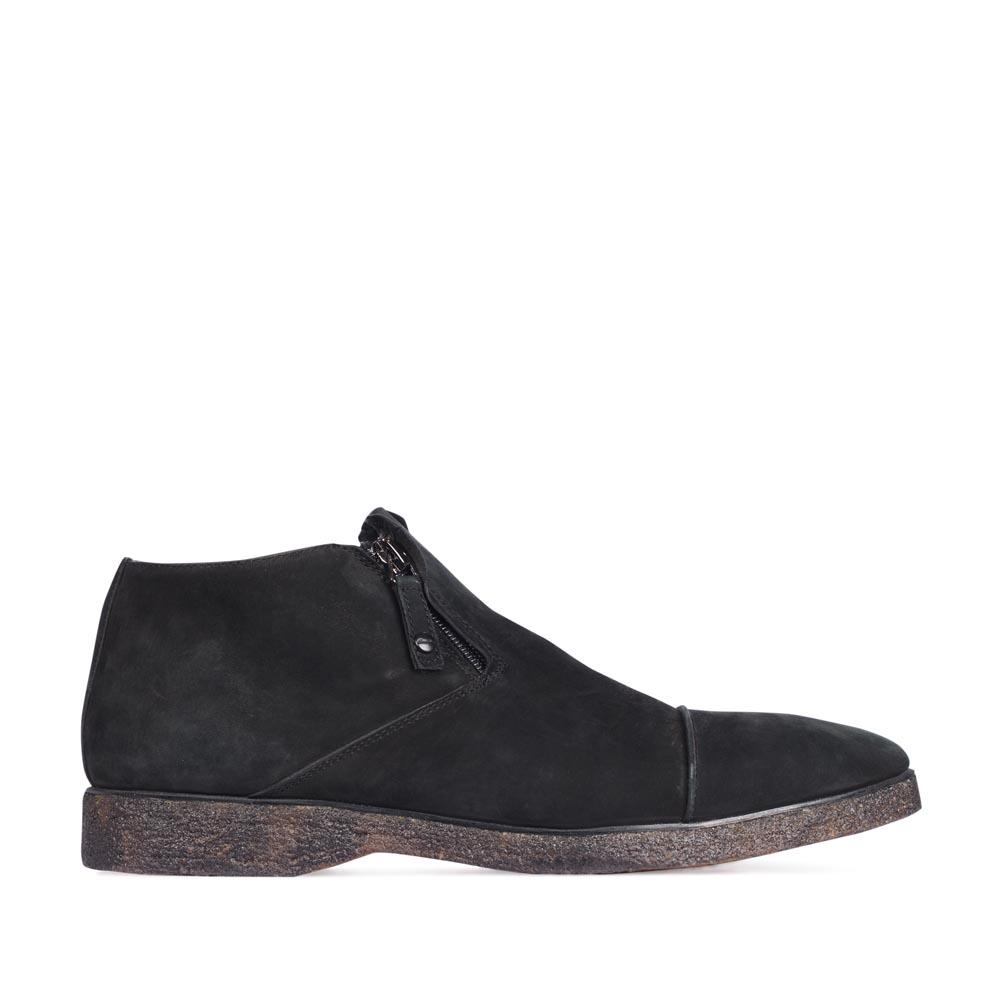 Ботинки из нубука черного цвета с молниями
