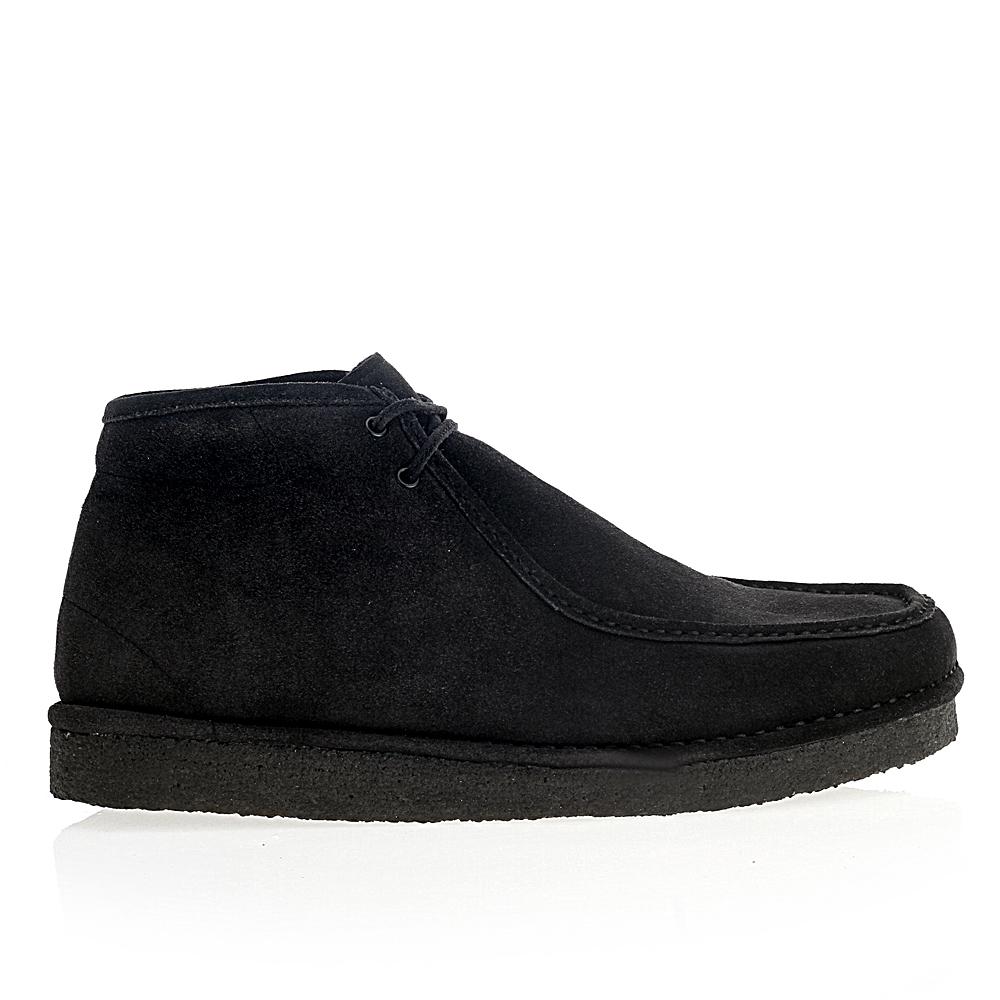Ботинки из замши черничного цвета с мехом на каучуковой подошве