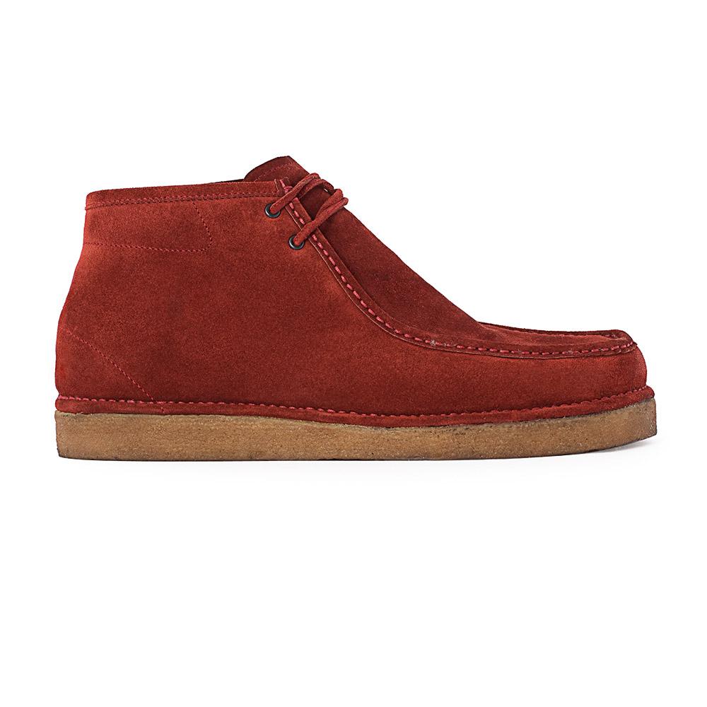 Ботинки из замши кирпичного цвета с мехом на каучуковой подошвеБотинки мужские<br><br>Материал верха: Замша<br>Материал подкладки: Мех<br>Материал подошвы: Каучук<br>Цвет: Красный<br>Высота каблука: 0см<br>Дизайн: Италия<br>Страна производства: Китай<br><br>Высота каблука: 0 см<br>Материал верха: Замша<br>Материал подкладки: Мех<br>Цвет: Красный<br>Пол: Мужской<br>Вес кг: 0.60000000<br>Размер обуви: 40