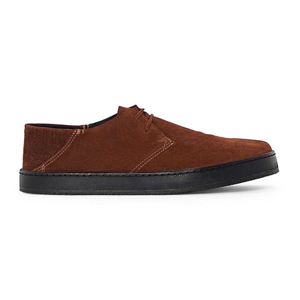 Ботинки из замши коричневого цвета на широкой подошве