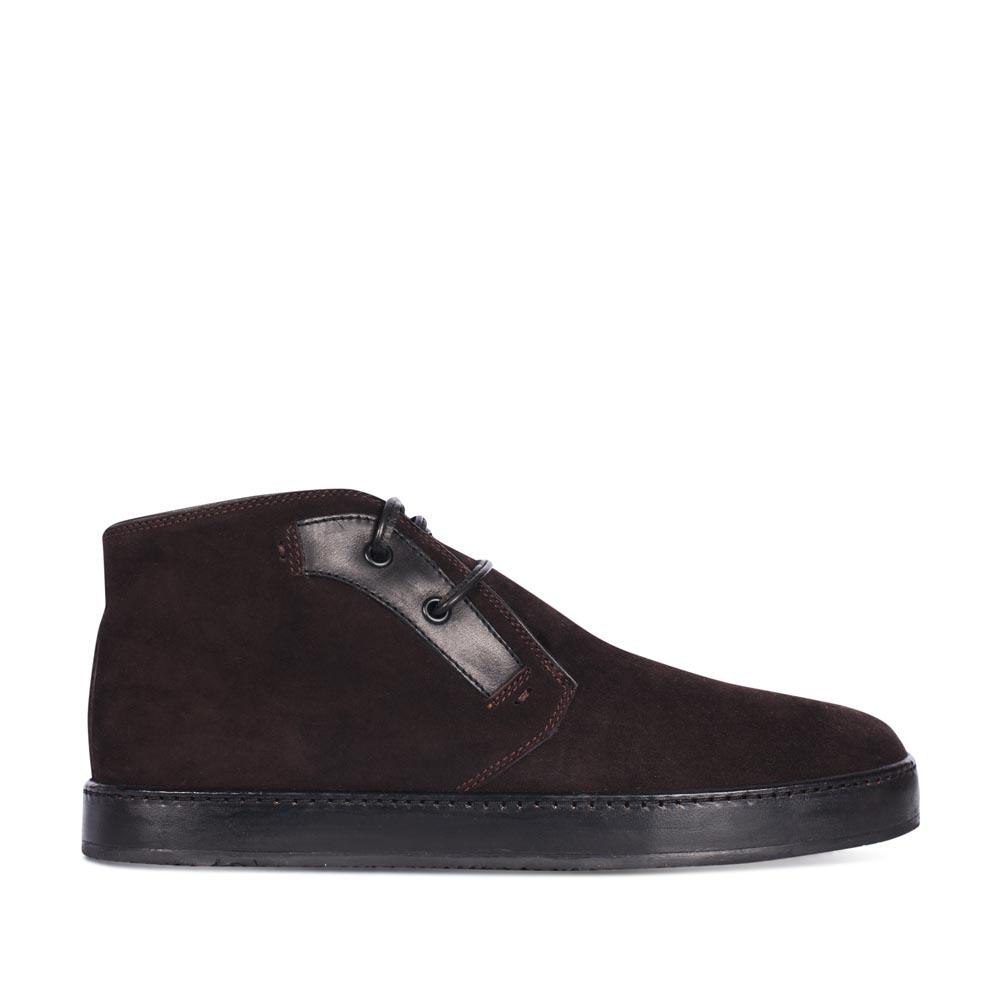 Ботинки из кожи кофейного цвета с мехом на широкой подошве