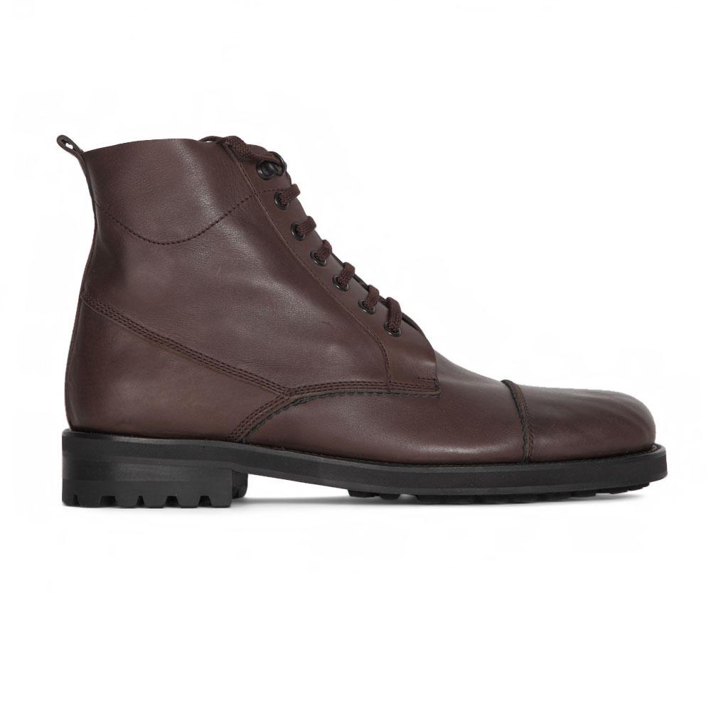 Высокие ботинки из кожи каштанового цвета со шнуровкой на меху