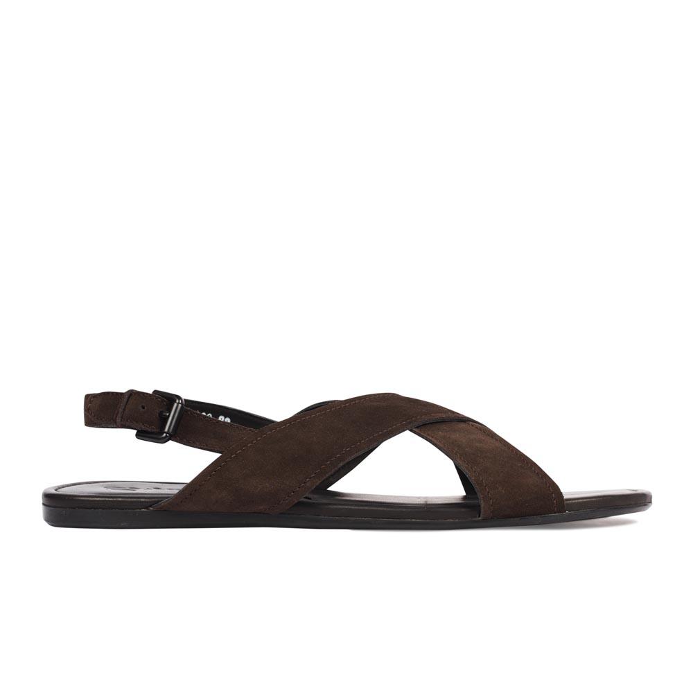 Минималистичные сандалии из замши шоколадного цвета