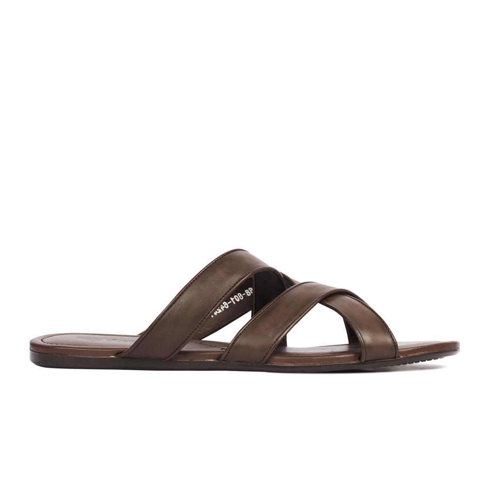 Купить со скидкой Минималистичные пантолеты из кожи шоколадного цвета
