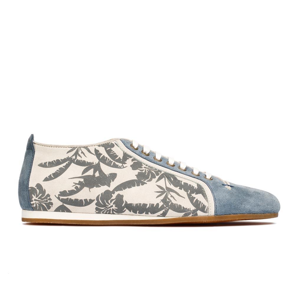 CORSOCOMO Кеды из замши голубого цвета с растительным принтом 98-055-57176-7