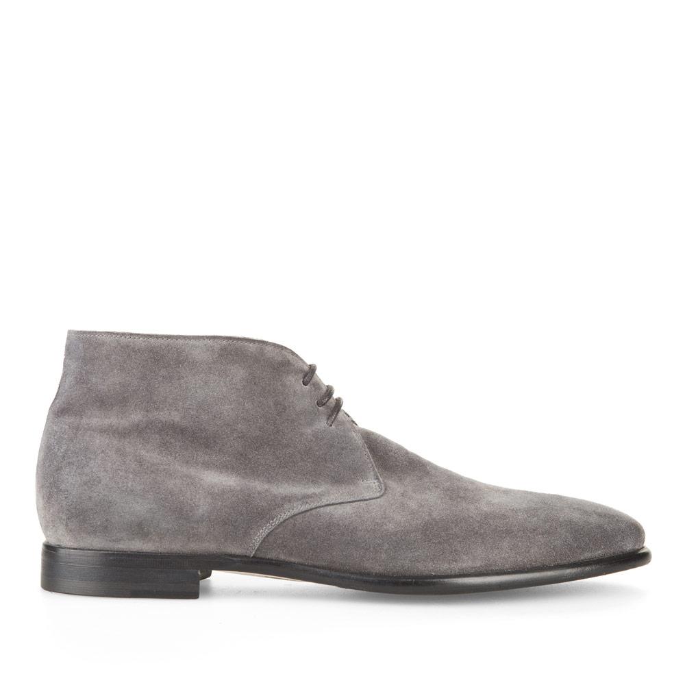 Замшевые ботинки-чукка каменно-серого цвета с мехом