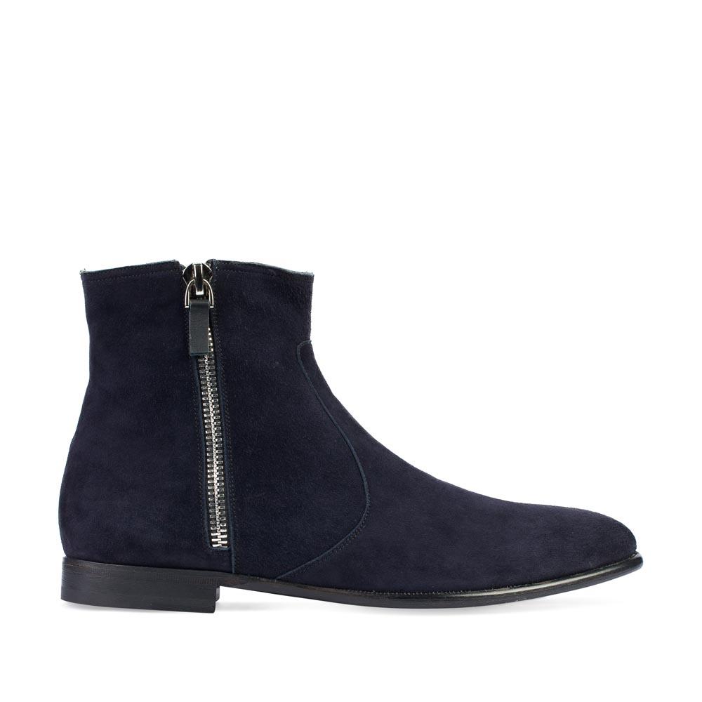Высокие ботинки из замши темно-синего цвета с боковыми молниями
