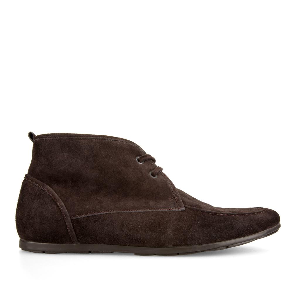 Ботинки из замши каштанового цвета на шнуровке с мехом