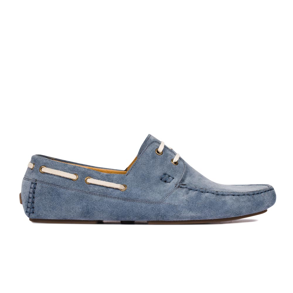 CORSOCOMO Мокасины из замши дымчато-голубого цвета с декоративной шнуровкой 98-279-01176-7