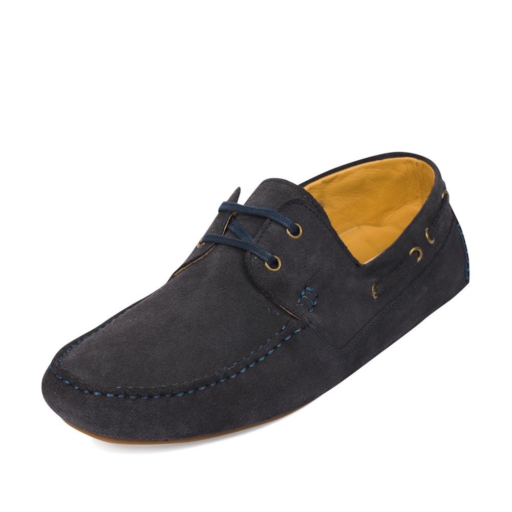 Мужские мокасины CorsoComo (Корсо Комо) Мокасины из замши черничного цвета с декоративной шнуровкой