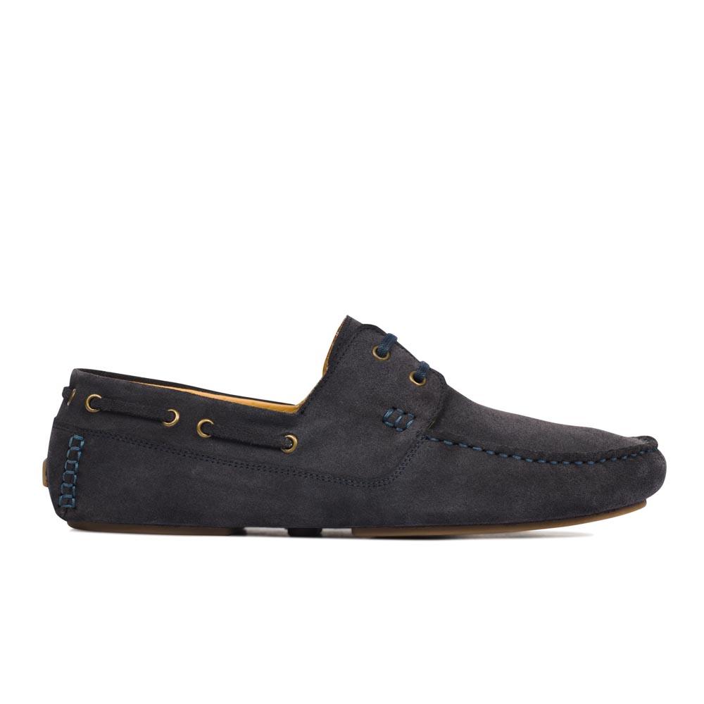 Мокасины из замши черничного цвета с декоративной шнуровкой