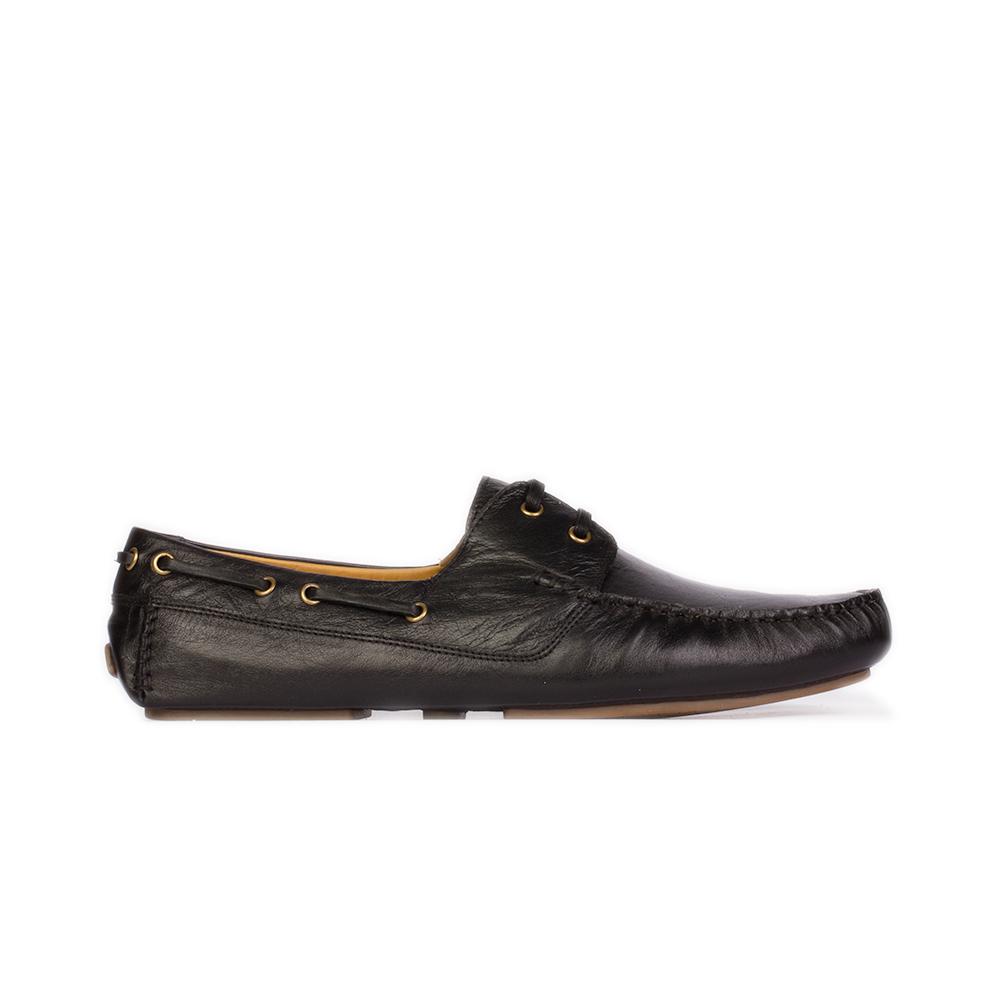 Кожаные мокасины черного цвета с декоративной шнуровкой